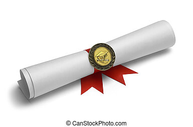 Grad Degree and Medal - Diploma With Degree Medal and Red...