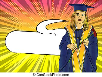 Grad girl. Wearing a blue mortar board, with yellow tassel, in gown.