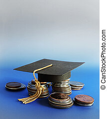 grad, gorra, y, coins, en, azul