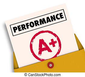 grad, granska, illustration, plus, rapport, utförande, kort, 3
