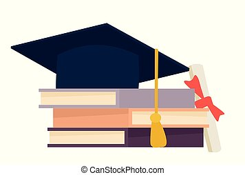 Grad hat and diploma with books isolated on white background. Vector cartoon flat design illustration