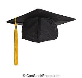 Grad Hat Front - Black Graduation Hat with Gold Tassel...