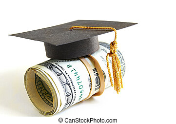 grad money - mini graduation cap on a roll of money