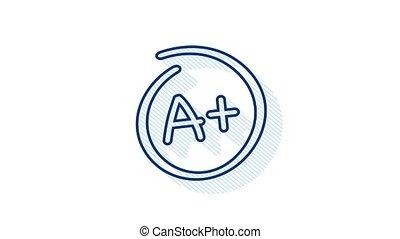 Grade A Plus result icon. School mark. Motion graphics