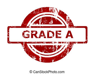 Grade A red stamp with copy space isolated on white background.
