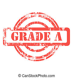 Red grade A grunge stamp isolated on white background.