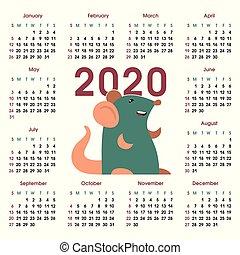 grade, calendário, 2020, rato