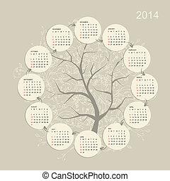 grade, calendário, desenho, seu, 2014