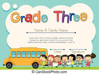 Grade four diploma with schoolbus and kids