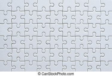 grade, quebra-cabeça, partes jigsaw, cor, branca