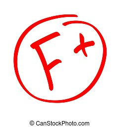 Grade result F. Hand drawn vector grade F in red circle. Test exam mark report