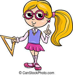 grade school girl cartoon illustration - Cartoon...