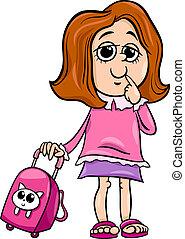grade school girl cartoon illustration