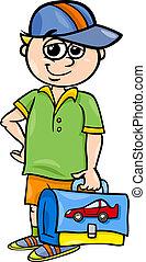 grade school student cartoon illustration - Cartoon...
