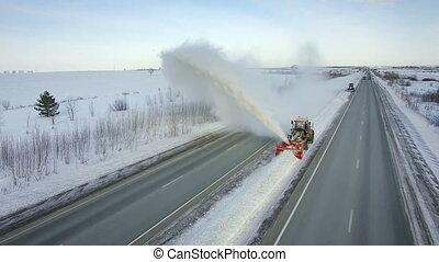Grader clean remove snow, snowplow, snow blower, blast...