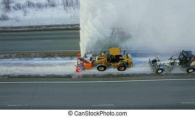 Grader clean remove snow, snowplow, snow blower, blast...
