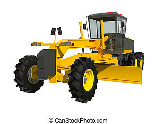 Grader. Construction machinery. Three-dimensional model of a...