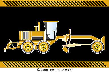 grader, equipamento, maquinaria construção, motor