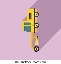Grader machine truck icon, flat style