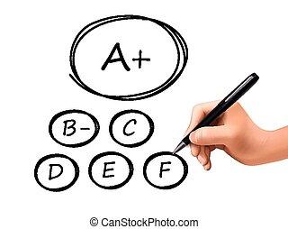 grades set drawn by 3d hand
