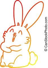 gradiens, karikatúra, meleg, nevető, üregi nyúl, megtölt rajz, nyuszi
