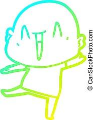 gradiens, kopasz, megtölt rajz, hideg, boldog, karikatúra, ember