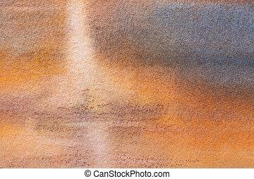 gradient., ブラウン, 青い背景, 海軍, 芸術, オレンジ, 水彩画, 抽象的, colors., 柔らかい, キャンバス, 絵