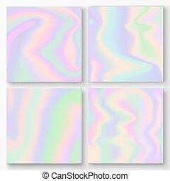 gradient, arrière-plans, holographic, ensemble, vecteur