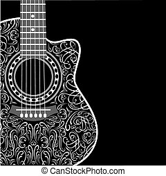 gradient background with clipped guitar and stylish ornament