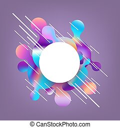 Gradient banner with bright colorful rounded shapes and lines with white circle for text area.