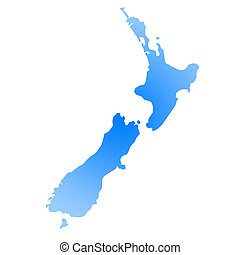 Gradient blue map of New Zealand