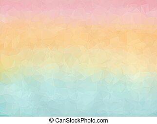 Gradient blue, orange and pink polygon background