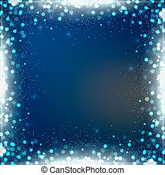Gradient blue square background with bokeh border