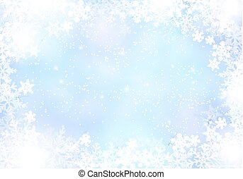 Gradient blue winter paper background with snowflake border