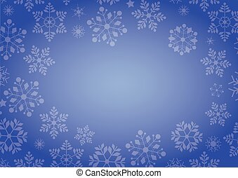 Gradient blue winter snowflake border Christmas background