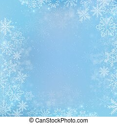 Gradient blue winter square banner background with snowflake