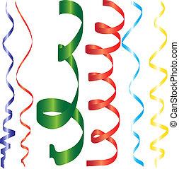 gradient, bordage, rubans, ou, fête, serpentine, pour, conception