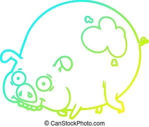 gradient, boueux, dessin ligne, froid, cochon, dessin animé