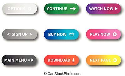Gradient buttons for website - set of bright colorful click icons illustration