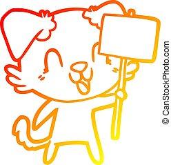 gradient, chien, signe, chaud, rire, dessin ligne, dessin animé