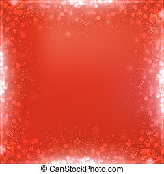 Gradient Christmas red square background with bokeh border