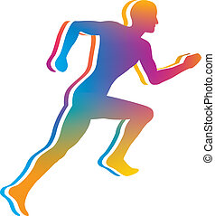 Man Jogging - Gradient Color Silhouette of Man Jogging -...