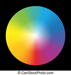 gradient, couleur, roue, noir