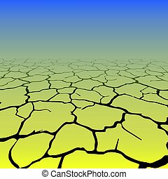 Black cracks in perspective with blue and yellow background