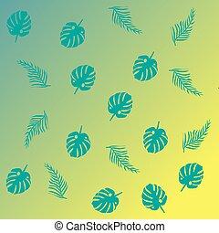 gradient, exotique, feuilles, fond, monstera
