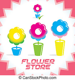 Gradient Flower Shop Icons - Vector Colorful Gradient Glossy...