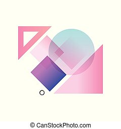 Gradient geometric forms in blue, pink and purple colors, colorful abstract design for label, presentation, poster, banner or card, modern decoration shapes and figures vector Illustration