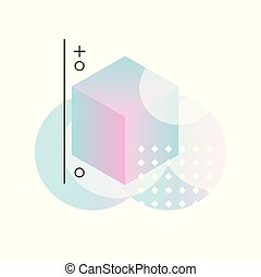 Gradient geometric forms in pink and blue colors, abstract design for label, presentation, poster, banner or card, modern decoration shapes and figures vector Illustration