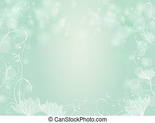 Gradient green bokeh background with plants border