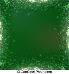 Gradient green square Christmas background with bokeh border